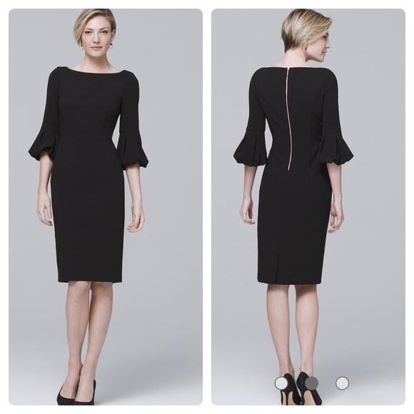 White House Black Market Dresses & Skirts - WHBM BODY PERFECTING LANTERN-SLEEVE BLACK DRESS
